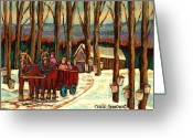 Hockey On The Streets Of Montreal Greeting Cards -  Sugar Shack Greeting Card by Carole Spandau