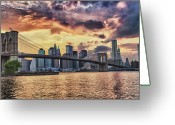 Sky Studio Greeting Cards -  Sunset Over Manhattan Greeting Card by Val Black Russian Tourchin