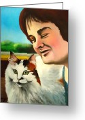 Susan Greeting Cards -  Susan Boyle with her cat Pebbles Greeting Card by Dan Haraga