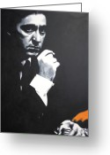 Michael Corleone Greeting Cards - - The Godfather - Greeting Card by Luis Ludzska