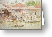 Central Painting Greeting Cards -  The Market Belize British Honduras Greeting Card by Henry Scott Tuke