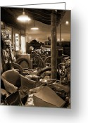 Wheels Greeting Cards -  The Motorcycle Shop Greeting Card by Mike McGlothlen