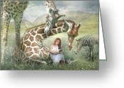 Giraffe Greeting Cards -  The Reading Room Greeting Card by Trudi Simmonds