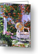 Wicker Chair Greeting Cards -  The Sunchair Greeting Card by David Lloyd Glover