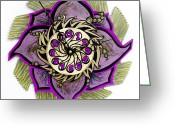 Saw Blades Greeting Cards -  The Tuladromeda Clock Blossom Greeting Card by Jessica Sornson