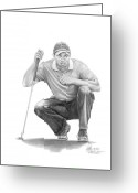 Figure Drawing Greeting Cards -  Tiger Woods Crouching Tiger Greeting Card by Murphy Elliott