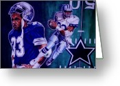 Sports Art Painting Greeting Cards -  Tony Dorsett Greeting Card by Darryl Matthews