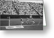 Sprinting Greeting Cards - Track Athletes Running On Track, (b&w), Elevated View Greeting Card by George Marks