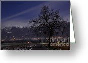 Long Street Greeting Cards -  Tree and snow-capped mountain Greeting Card by Mats Silvan