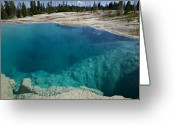 Volcanic Greeting Cards -   Turquoise hot springs Yellowstone Greeting Card by Garry Gay