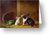 Hay Painting Greeting Cards -  Two Rabbits Greeting Card by H Baert
