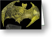 Bat Mixed Media Greeting Cards -  Vampire Bat Greeting Card by Adam Weinzapfel