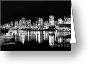 Impassioned Greeting Cards -  Vancouvers silver lining  Greeting Card by Dean Edwards