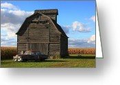Lyle Hatch Greeting Cards -  Vintage Cadillac and Barn Greeting Card by Lyle Hatch