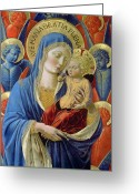 Christ Child Greeting Cards -  Virgin and Child with Angels Greeting Card by Benozzo di Lese di Sandro Gozzoli