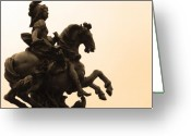Greek Sculpture Greeting Cards -  Warrior on a Horse Greeting Card by Edan Chapman