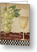 Vino Greeting Cards -  White wine collage Greeting Card by Grace Pullen
