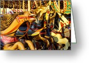 Amusement Park Greeting Cards -  Wild carrousel horses  Greeting Card by Garry Gay