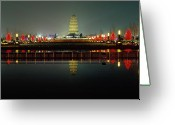 Shaanxi Greeting Cards -  Wild Goose Pagoda Illuminated at Night Greeting Card by George Oze