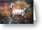 Beauty Pyrography Greeting Cards -  Wild horse. Greeting Card by Andrzej  Szczerski
