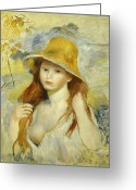 Pierre Renoir Greeting Cards -  Young Girl with a Straw Hat Greeting Card by Pierre Auguste Renoir