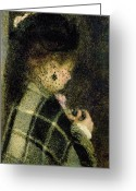Pierre Renoir Greeting Cards -  Young Woman with a Small Veil Greeting Card by Pierre Auguste Renoir