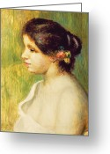 Pierre Renoir Greeting Cards -  Young Woman with Flowers at her Ear Greeting Card by Pierre Auguste Renoir