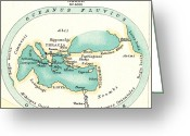B.c Greeting Cards - WORLD MAP, c1000 B.C Greeting Card by Granger