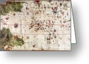 Expedition Greeting Cards - Nina: World Map, 1500 Greeting Card by Granger