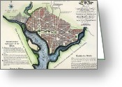 Ellicott Greeting Cards - Washington, Dc, Plan, 1792 Greeting Card by Granger