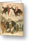 Wall Street Painting Greeting Cards - Cartoon: Panic Of 1893 Greeting Card by Granger
