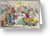Political Acts Greeting Cards - Cartoon: Vaccination, 1802 Greeting Card by Granger