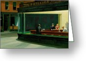 Women Greeting Cards - Hopper: Nighthawks, 1942 Greeting Card by Granger