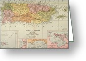 Puerto Rico Greeting Cards - Map: Puerto Rico, 1900 Greeting Card by Granger