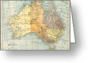 Australia Map Greeting Cards - MAP: AUSTRALIA, c1890 Greeting Card by Granger