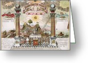 Ark Greeting Cards - Freemason Emblematic Chart Greeting Card by Granger
