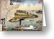 Mississippi River Scene Greeting Cards - Mississippi Steamboat Greeting Card by Granger