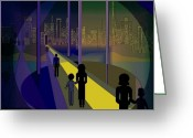 Luminescent Greeting Cards - 070 -  Nightwalking to the golden city   Greeting Card by Irmgard Schoendorf Welch