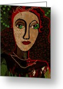 Pensive Greeting Cards - 078 - Woman Pensive Greeting Card by Irmgard Schoendorf Welch