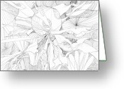 Fractal Flower Drawings Greeting Cards - 0910-10 Greeting Card by Charles Cater