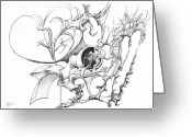 Fractal Flower Drawings Greeting Cards - 0910-13 Greeting Card by Charles Cater