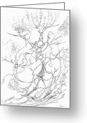 Fractal Flower Drawings Greeting Cards - 0910-14 Greeting Card by Charles Cater