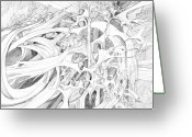 Fractal Flower Drawings Greeting Cards - 0910-2 Greeting Card by Charles Cater
