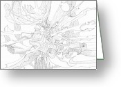 Fractal Flower Drawings Greeting Cards - 0910-3 Greeting Card by Charles Cater