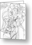 Fractal Flower Drawings Greeting Cards - 0910-5 Greeting Card by Charles Cater