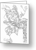 Fractal Flower Drawings Greeting Cards - 0910-6 Greeting Card by Charles Cater