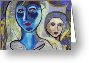 Young Lady Greeting Cards - 092 - Blue Lady  Greeting Card by Irmgard Schoendorf Welch