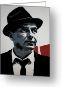 Ludzska Greeting Cards - - Sinatra - Greeting Card by Luis Ludzska