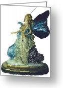 Gold Ceramics Greeting Cards - 01MD076-Madame Butterfly Greeting Card by Shirley Heyn