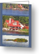 St Lawrence River Mixed Media Greeting Cards - 1000 Island Scenes 18 - Skull and Bones Society - Deer Island Greeting Card by Steve Ohlsen